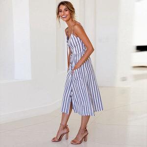 Blue Stripe Midi Dress